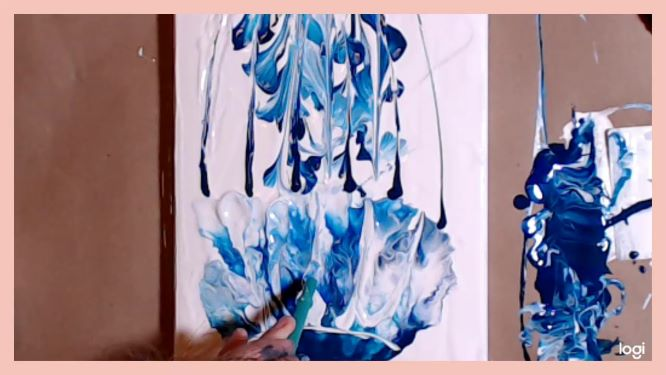 finishing touches in white on the jellyfish painting