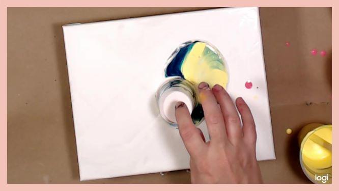 flip-cup painting in progress