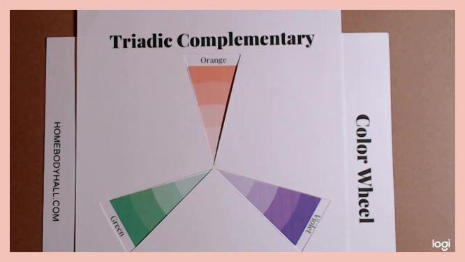 triadic complementary color scheme on color wheel: orange, violet, green