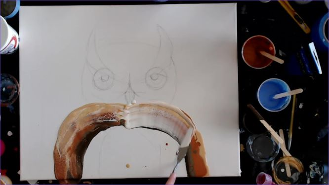 painting the wings and chest of your owl painting
