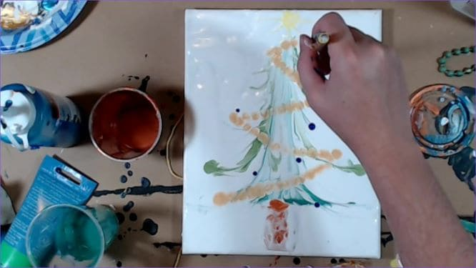 add the ornaments to the christmas tree painting