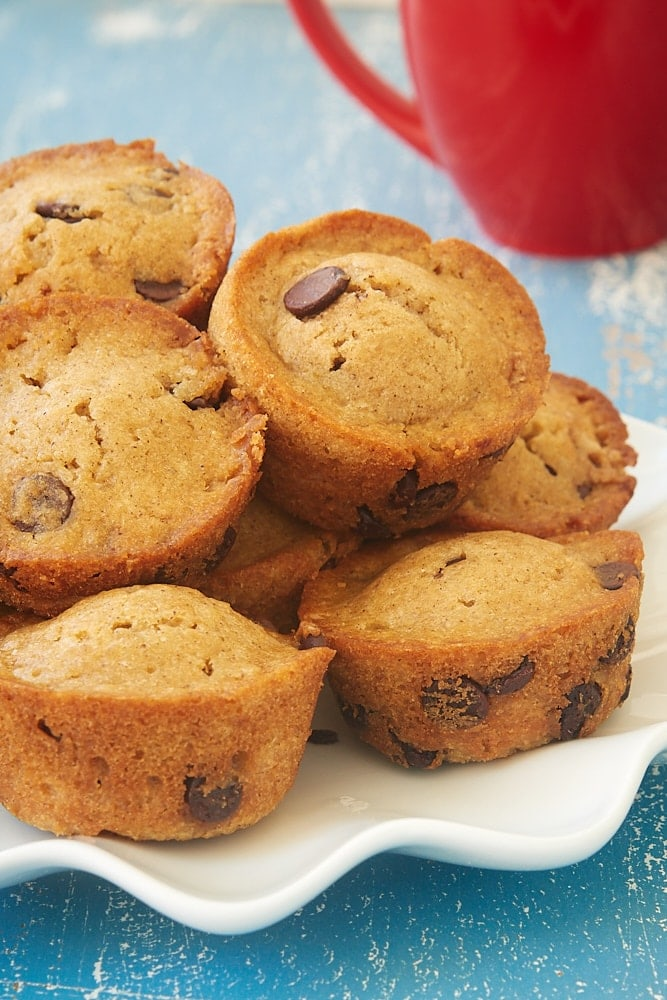 Chocolate Chip Muffins served on a white plate