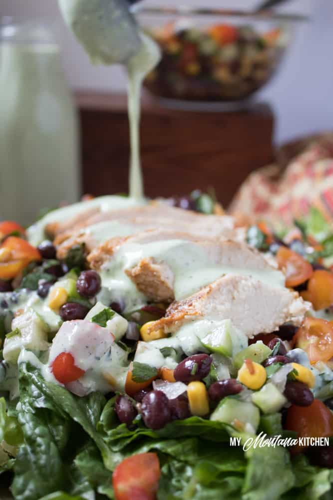 Southwest Chicken Salad (Low Fat, THM-E) #trimhealthymama #thm #thme #lowfat #southwest #chicken #salad #summermeals #greendressing