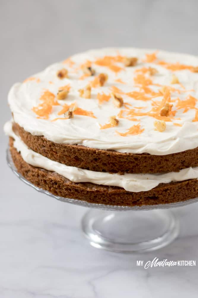 low-carb-carrot-cake-on-cake-stand