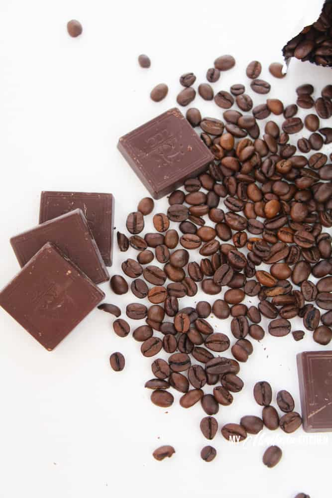 chocolate squares and coffee beans