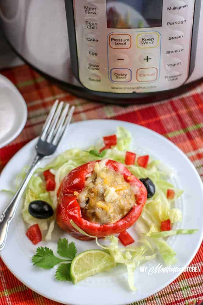 stuffed pepper with lettuce on white plate