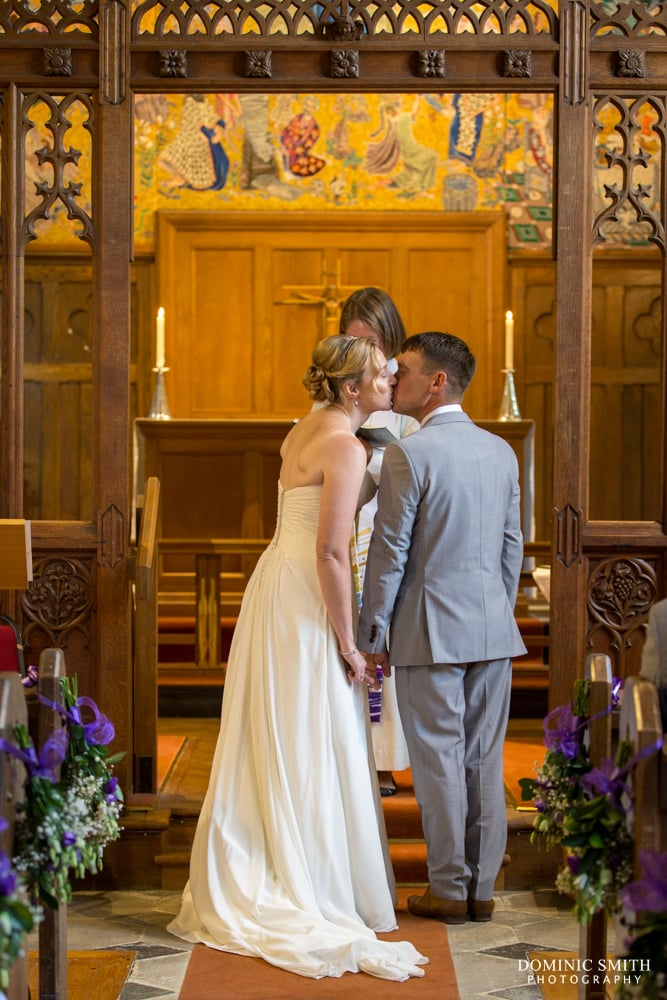 Wedding kiss at St Augustines Church