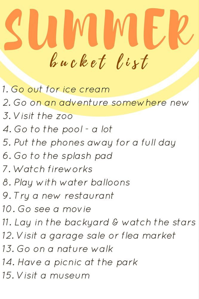 list of ideas for things to do in summer