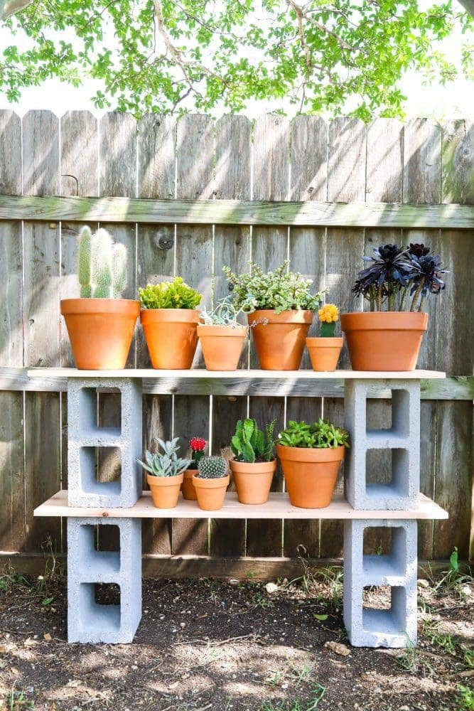 cinderblock plant shelves