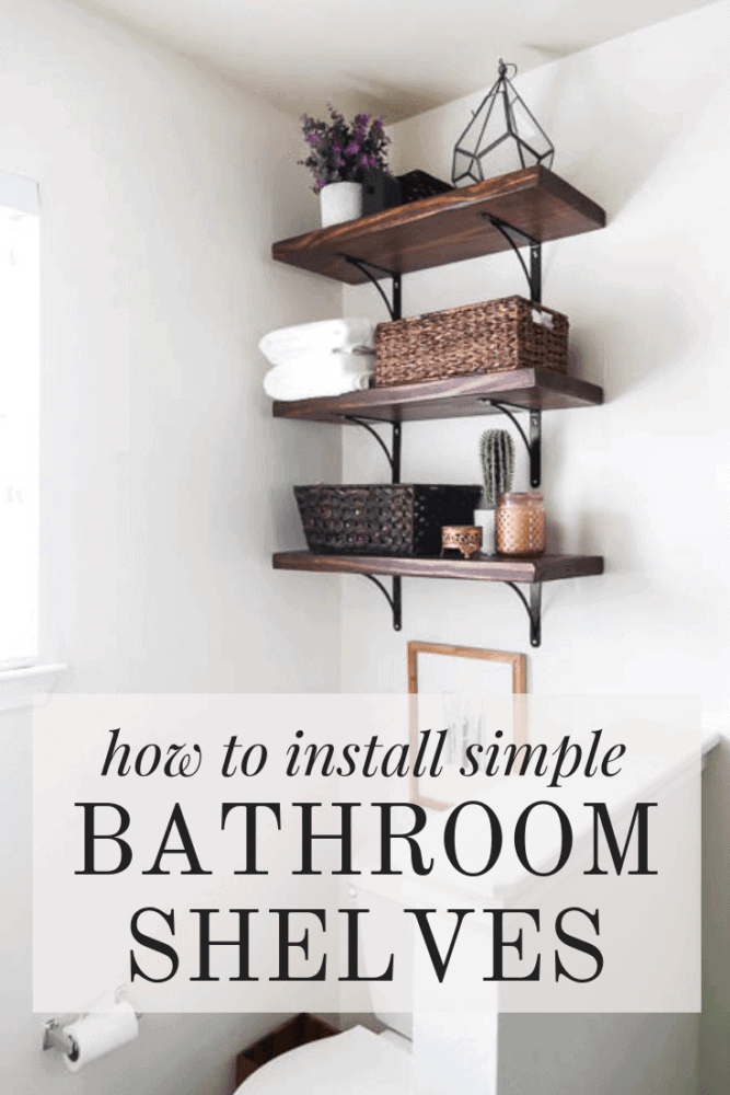 "Three shelves above toilet with text overlay - ""how to install simple bathroom shelves"""