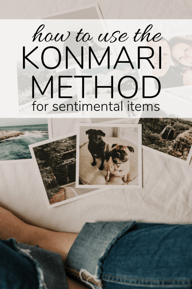 photos on a bed with text overlay - how to use the konmari method for sentimental items