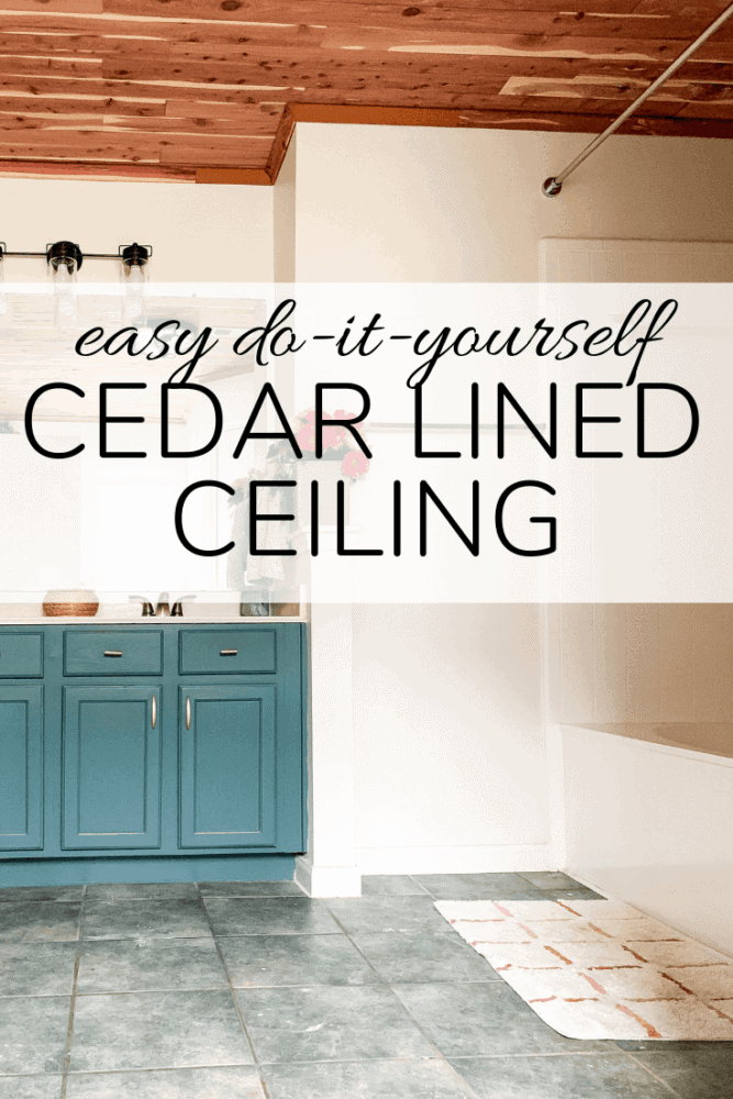 "image of bathroom with text overlay - ""easy do it yourself cedar lined ceiling"""