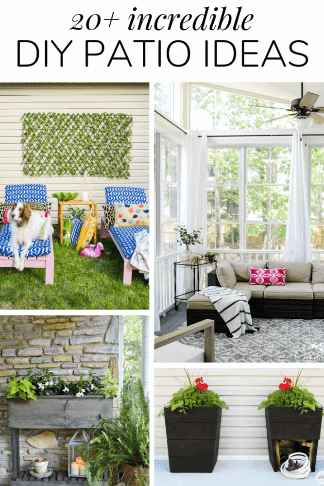 collage of back patio images with text overlay - 20+ incredible DIY patio ideas