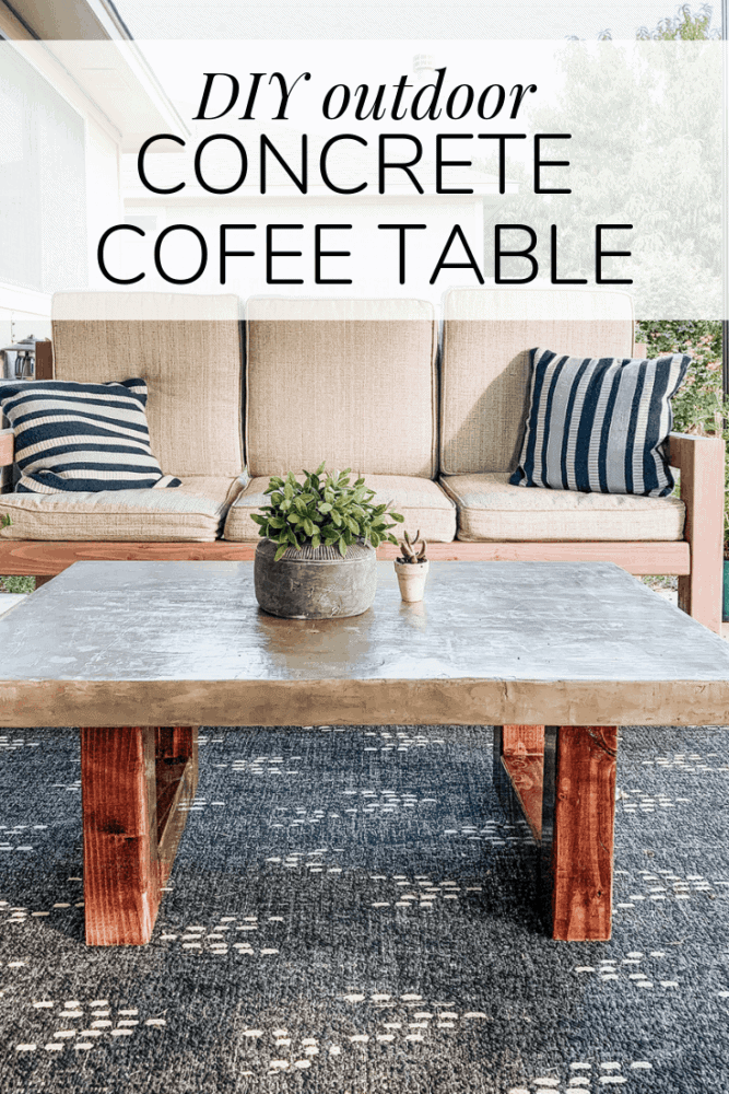 "concrete coffee table with text overlay - ""diy outdoor concrete coffee table"""