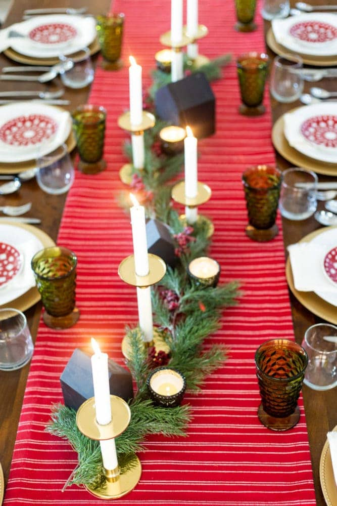 traditional red and green Christmas table setting
