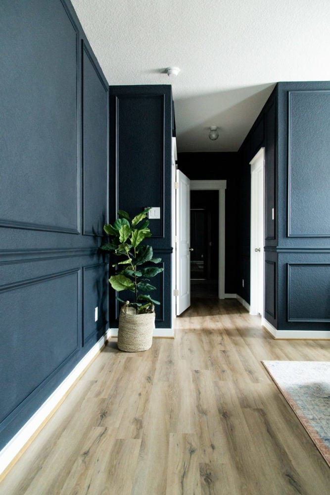 bedroom with dark blue walls and trim