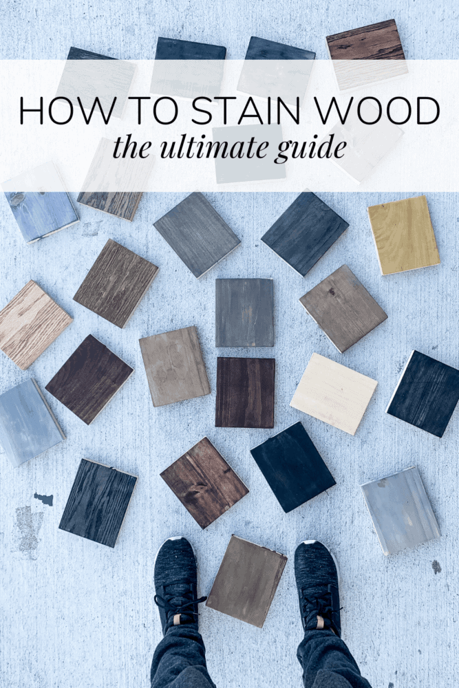 collection of stained wood with text overlay - how to stain wood, the ultimate guide