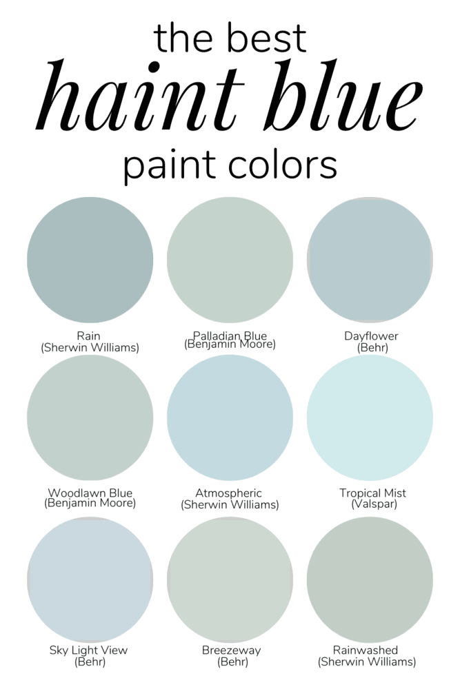 collection of 12 haint blue color options