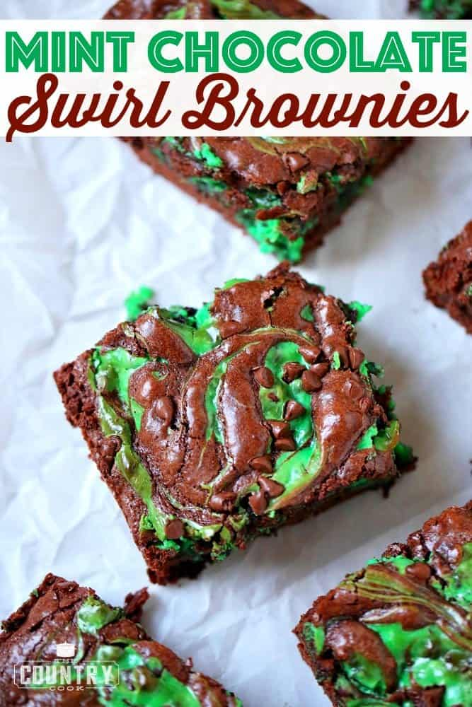 Mint Chocolate Swirl Brownies recipe from The Country Cook