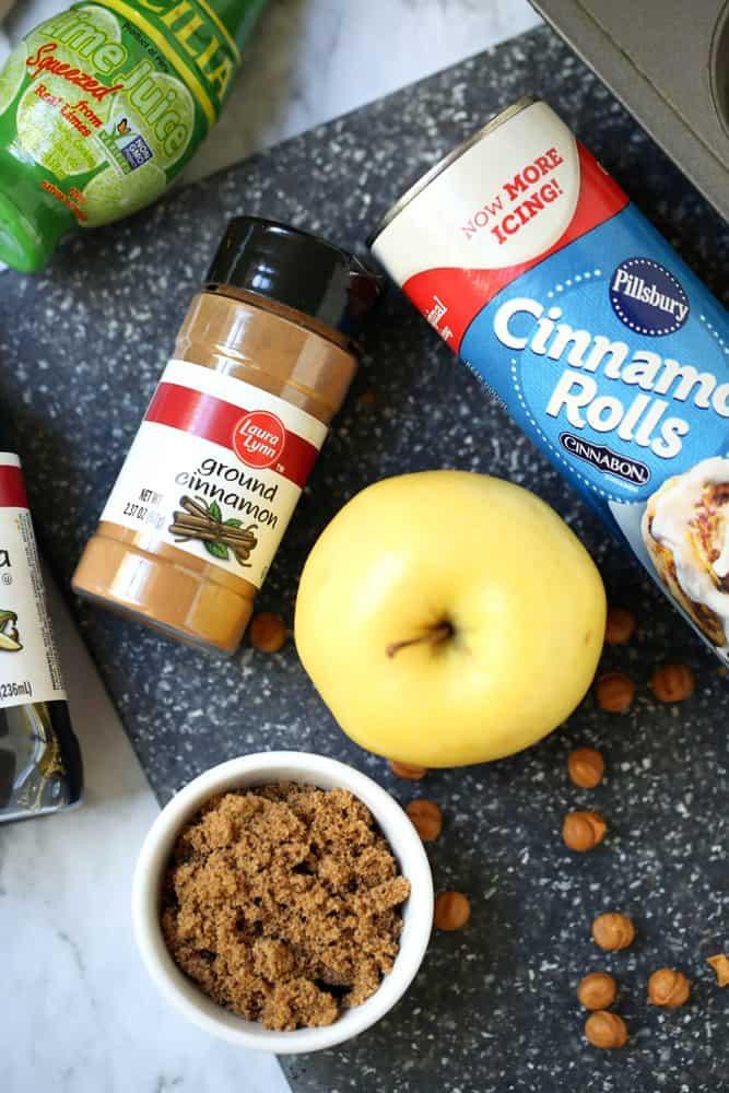 Pillsbury cinnamon rolls, green apple, cinnamon, brown sugar