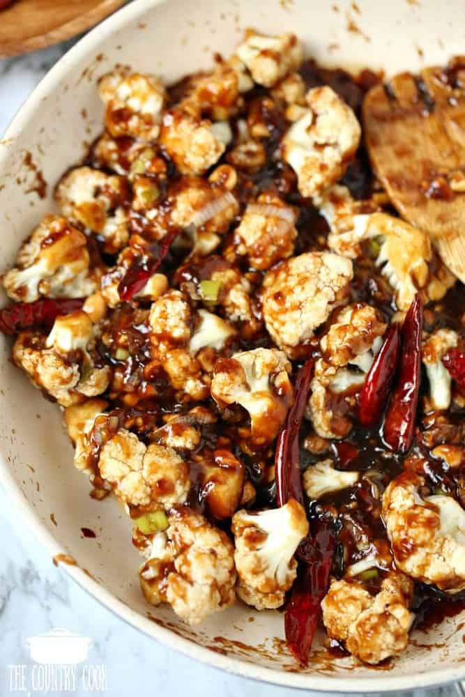 Low Carb Kung Pao Cauliflower in skillet