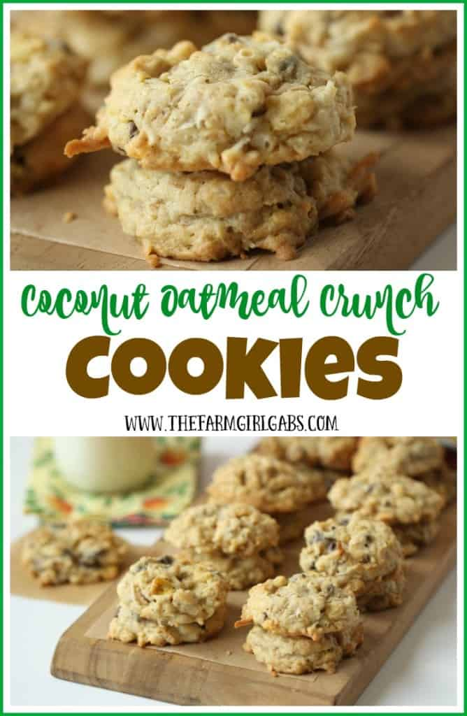 Coconut Oatmeal Crunch Cookies have plenty of coconut, oatmeal, chocolate chips, and lots of Post Honey Bunchers of Oats Honey Crunch. AD #CerealAnytime