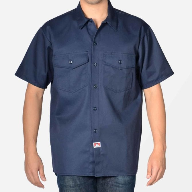 Short Sleeve Solid Button-Up – Navy