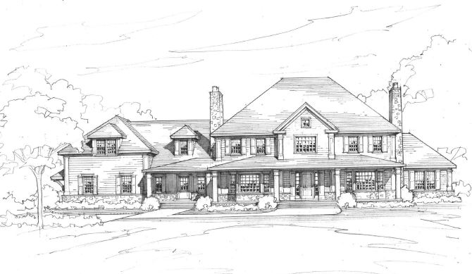 greenwich ct colonial home rendering by demotte architects