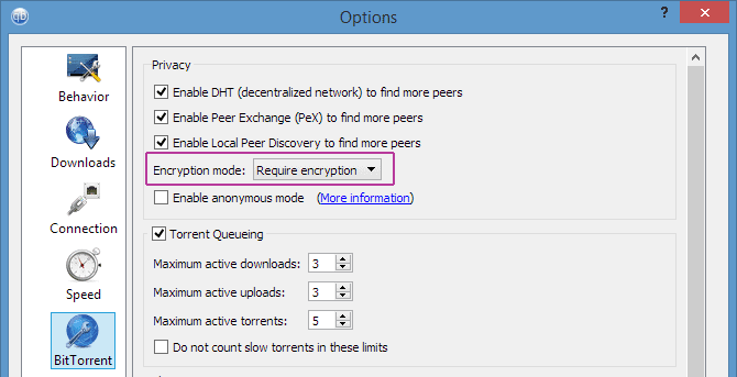QBittorrent Encryption Settings Menu