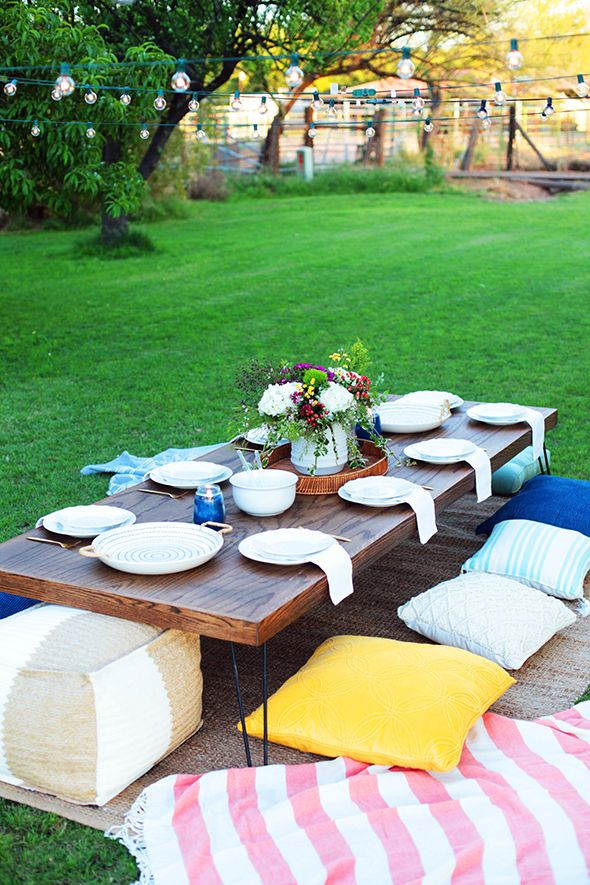 Outdoor Dining Area With Picnic Cushions