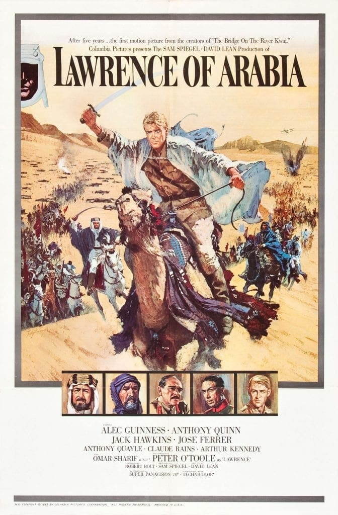 Movie poster with caucasian man in Arab dress riding camel into battleFind this travel movie on Netflix