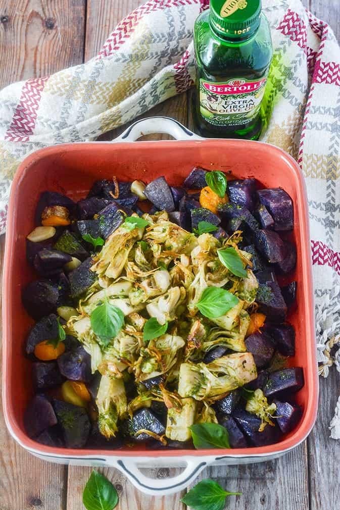 Sweet Potatoes and Jackfruit with Pesto