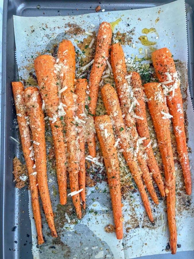 Garlic Butter Parmesan Roasted Carrots - cooked to a delicious and tender perfection. Very easy to make, flavorful, and the perfect side dish to any meal!