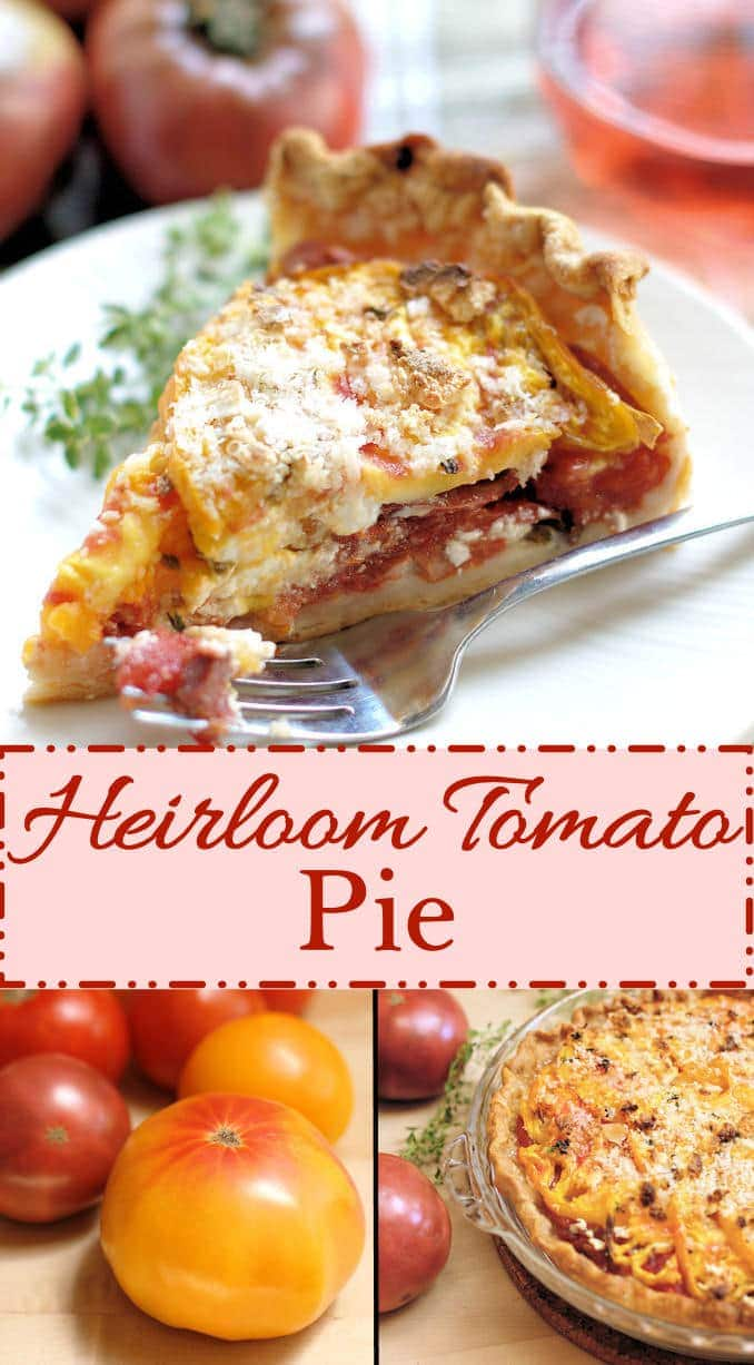 A delicious and light summer meal. Heirloom tomato pie with goat cheese and fresh herbs. This is summer on a plate!