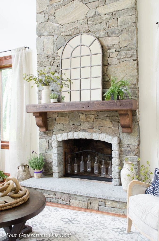 fireplace makeover - hanging a mantel on a stone fireplace