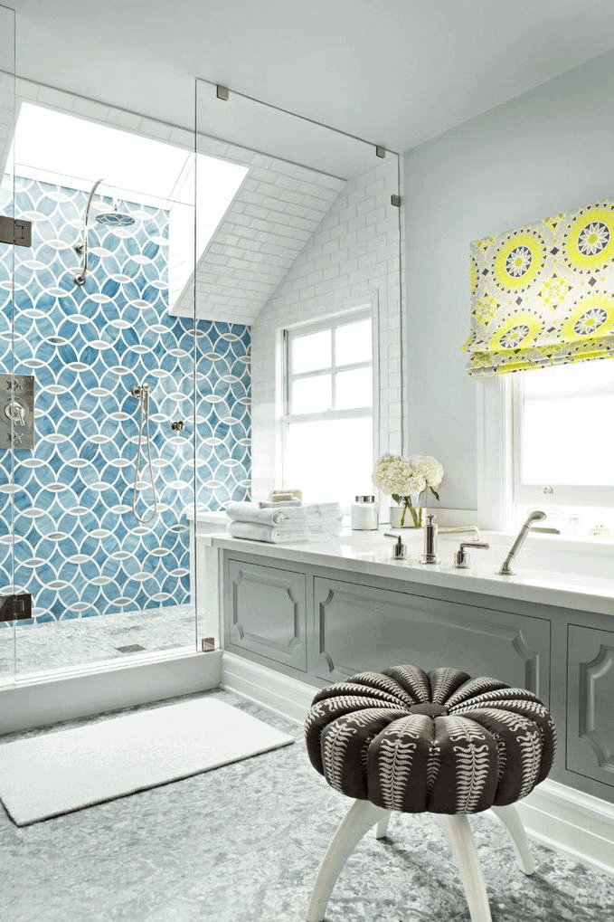 Ring tile wall shower small bathroom design ideas