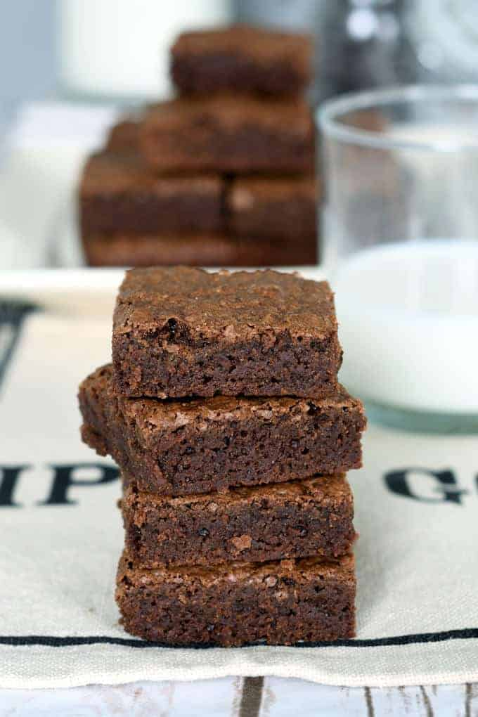 a stack of fudgy brownies