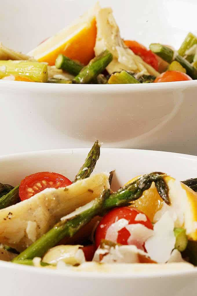 side view of Asparagus and Cherry Tomato Salad