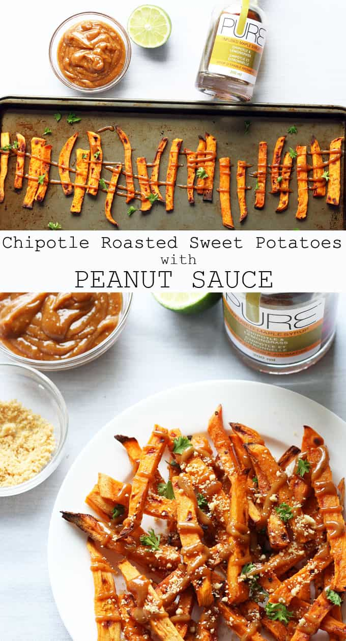 Chipotle Roasted Sweet Potatoes with Peanut Sauce