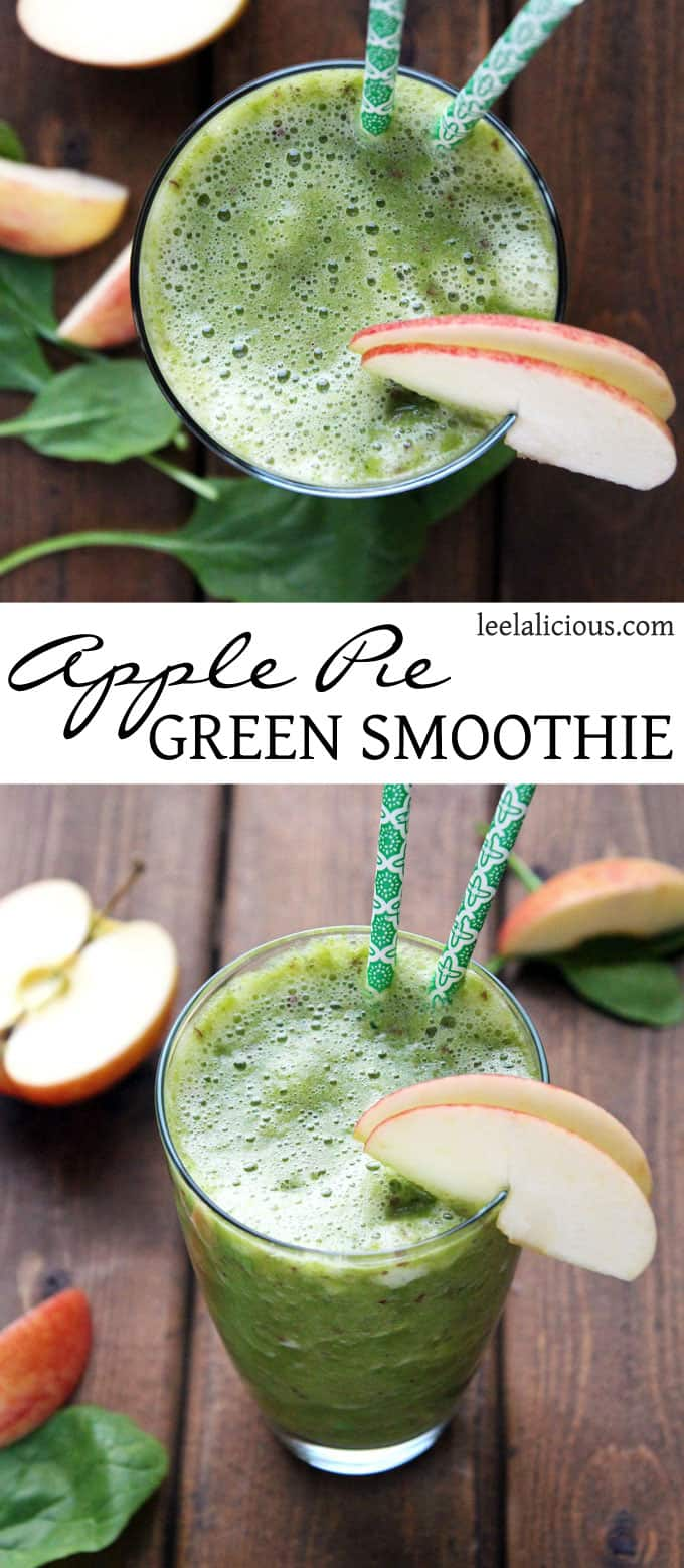 Apple Pie Green Smoothie -this delicious smoothie is full of healthy greens, while tasting like a delicious apple pie #smoothie #green #applepie