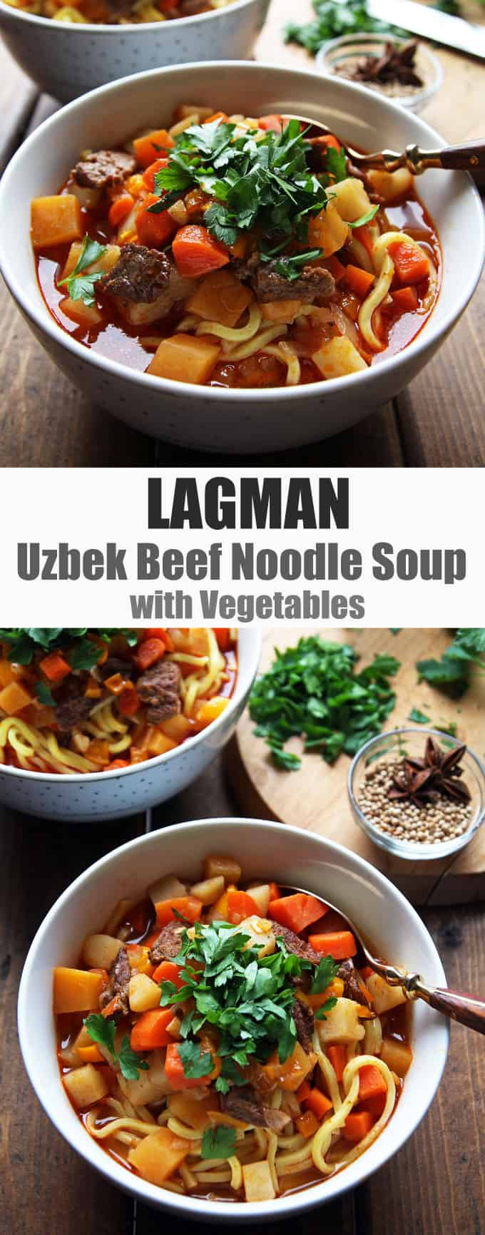 Lagman - Uzbek Beef Noodle Soup with Veggies