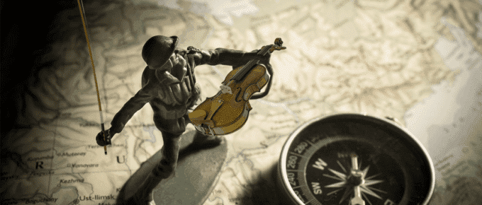 Army man with violin