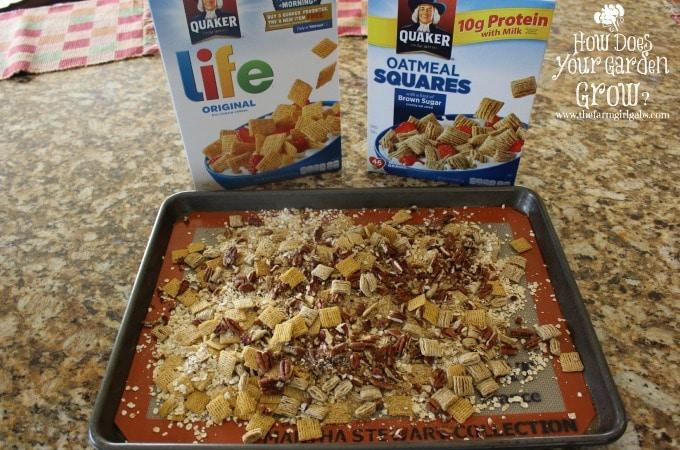 Cereal Mixture on Baking Pan www.thefarmgirlgabs.com