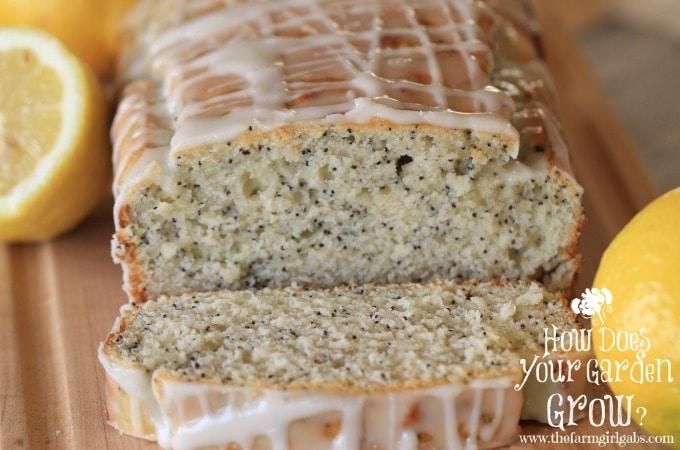 Glazed Lemon Poppy Seed Bread - Close