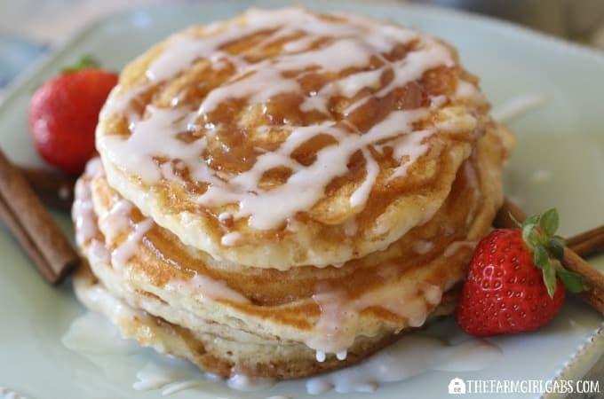 Cinnamon Swirl Pancakes With Vanilla Glaze