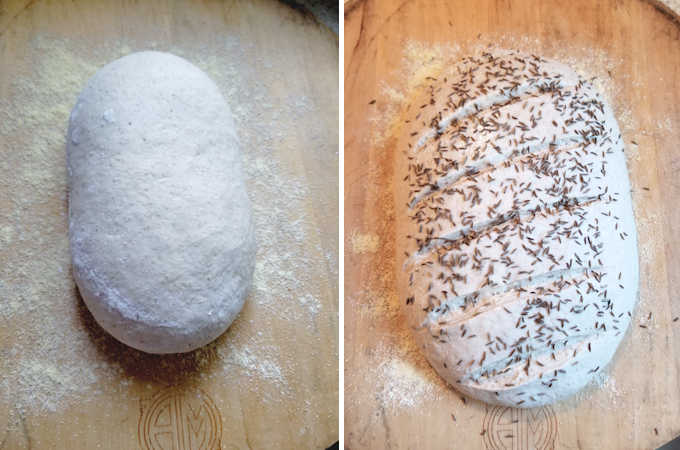 A loaf of sourdough rye bread before and after rising.