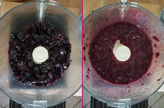 before and after photos of pureed concord grape skins