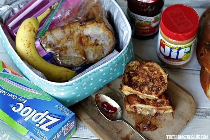 These Stuffed Peanut Butter And Jelly French Toast Sandwiches are a fun twist on the classic lunchbox favorite!