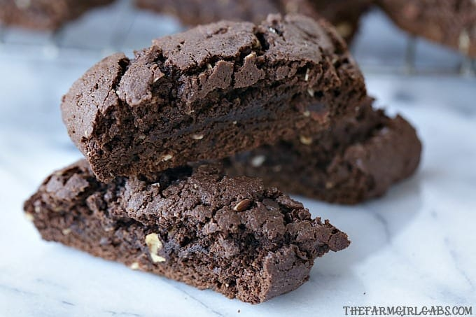 Brownie Almond Biscotti are a sweet and chocolaty twist on the classic Italian cookie. Make a batch to dunk in your coffee. #biscotti #cookies #brownies #biscottirecipe #brownierecipe #ChristmasCookie
