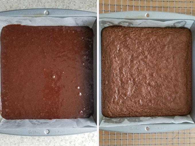 before and after photos showing unbaked and baked fudgy brownies